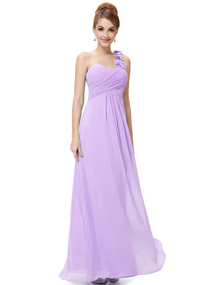 Romantic One Shoulder Bridesmaid Dresses 2016 Chiffon A Line Pleats ...